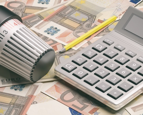 Energy and cost saving. Radiator thermostat, heating temperature adjustment on euro banknotes. 3d illustration